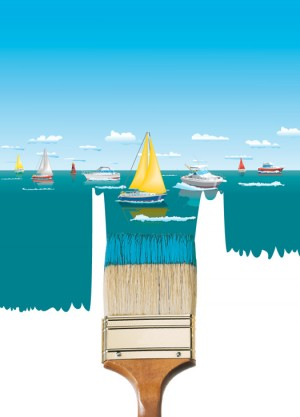 Interlux – Boat paint brochure cover illustration